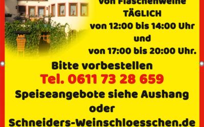 Werbung für Gutsausschank Schneiders Weinschlösschen