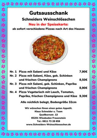 Pizzakarte Klaus Schneiders Weinschlösschen